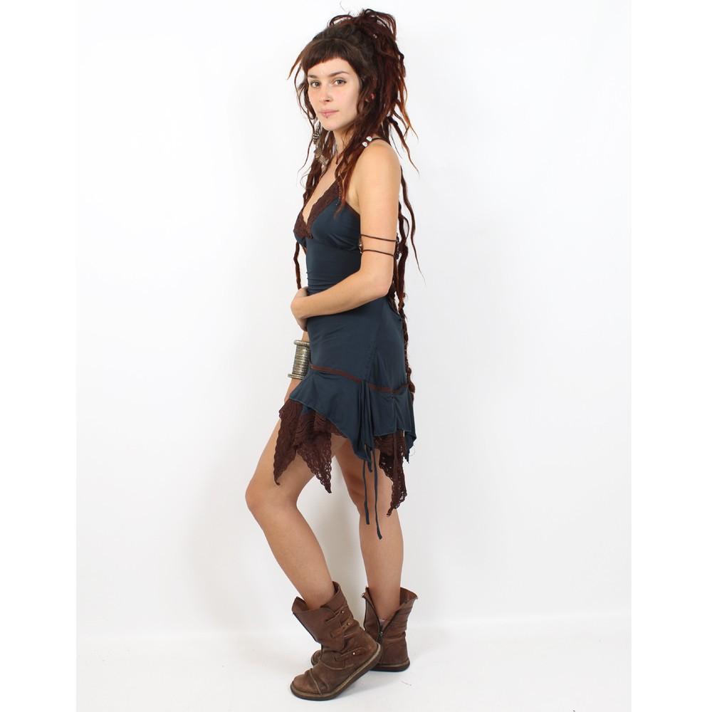 "Dress liloo \\\""nehelenia\\\"", teal blue - brown one size"