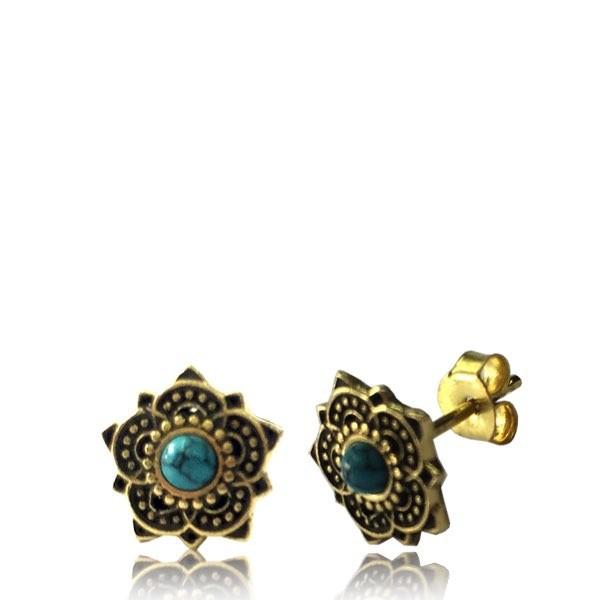"\\\""Enakshi Turquoise\\\"" Brass earrings"