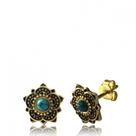 "\""Enakshi Turquoise\\\"" Brass earrings"
