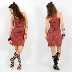 """Eye Mandala\"" dress, Dark red"