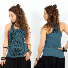 "\""Eyed Fatma hand\\\"" tank top, Teal"
