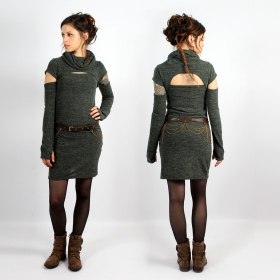 "\""Ezyäa\\\"" Yggdrazil dress, Lichen Green"