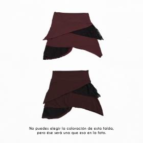 """Falda """"Nangaï"""", Marrón auburn con encaje negro"""