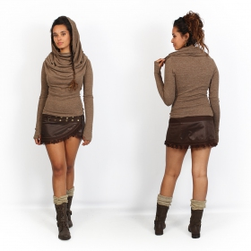 "Falda de piel sintética Luna \""Funky wrap\"", Marrón"