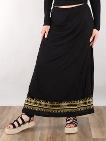 """Falda larga de cintura alta \""""Indie Elerinna\"""", Negro con estampados dorados"""
