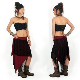 """Falda-túnica 2 en 1 \""""Syrada\"""", Burdeos oscuro con encaje negro"""