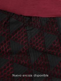 """Falda-túnica 2 en 1 """"Syrada"""", Burdeos oscuro con encaje negro"""