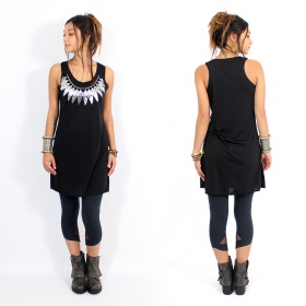 "\""Feather neck\\\"" dress, Black and silver"