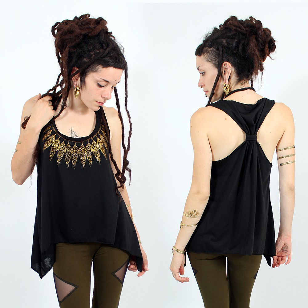 "\""Feather neck\\\"" knotted tank top, Black and gold"