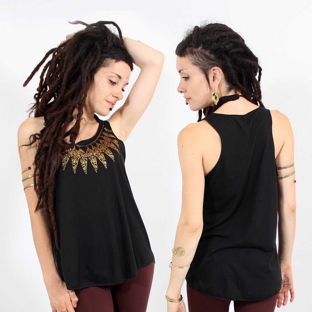 "\""Feather neck\\\"" tank top, Black and gold"