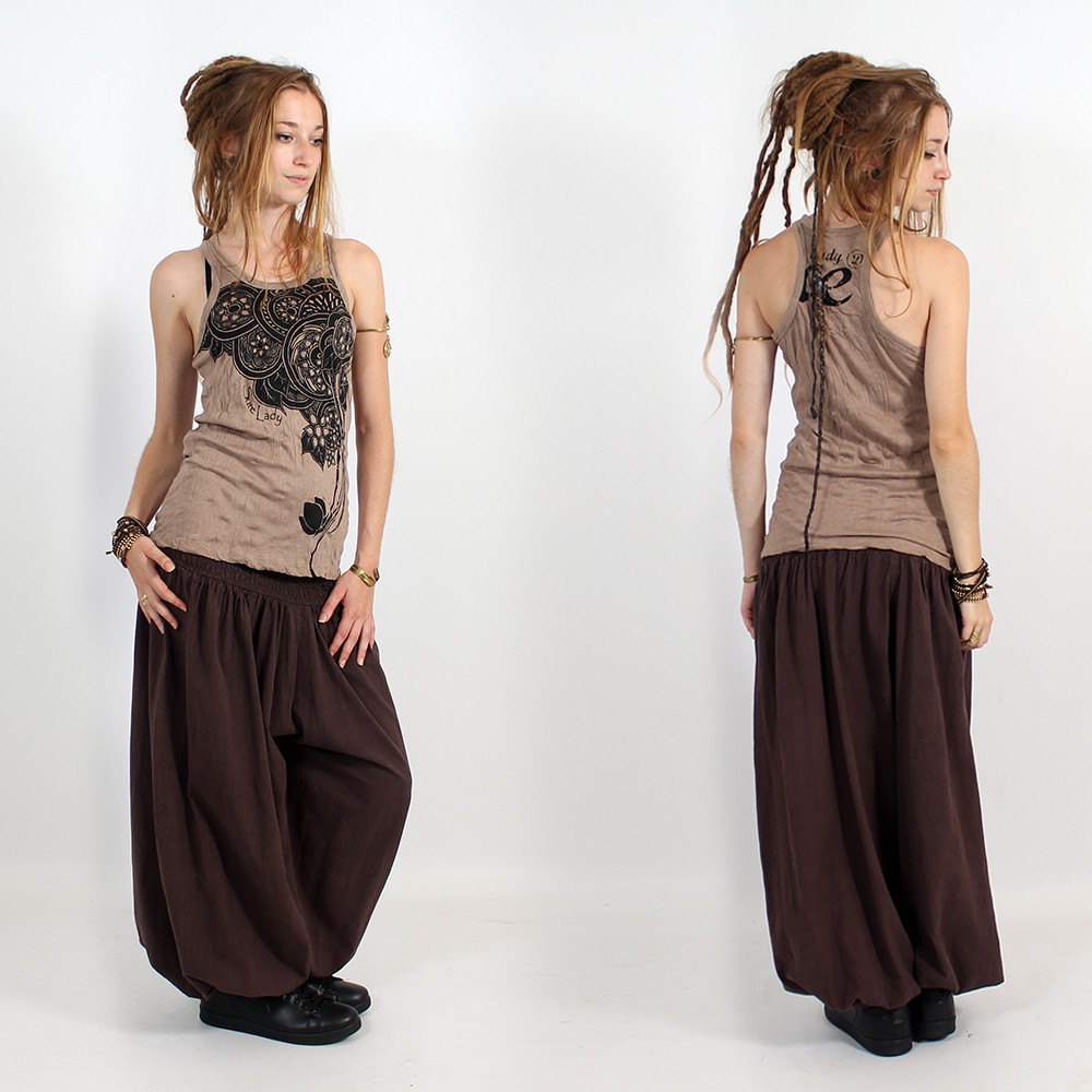"\""Flower\\\"" tank top, Light brown"