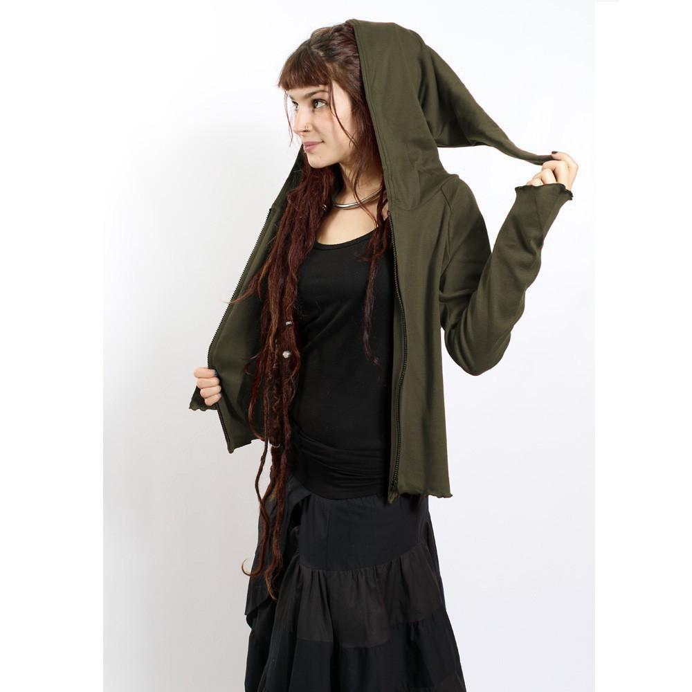 "GadoGado Jacket dwarfhood light \""Kamini\"", Plain kaki"
