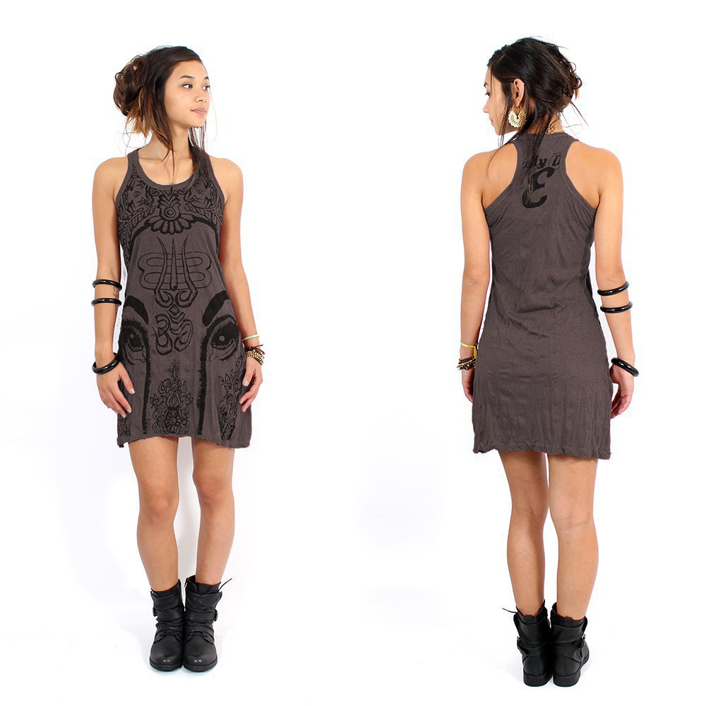 """Ganesh Eye\"" dress, Taupe"