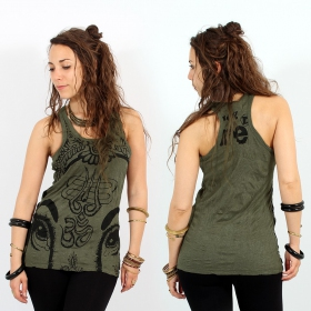 "\""Ganesh Eye\\\"" tank top, Khaki"
