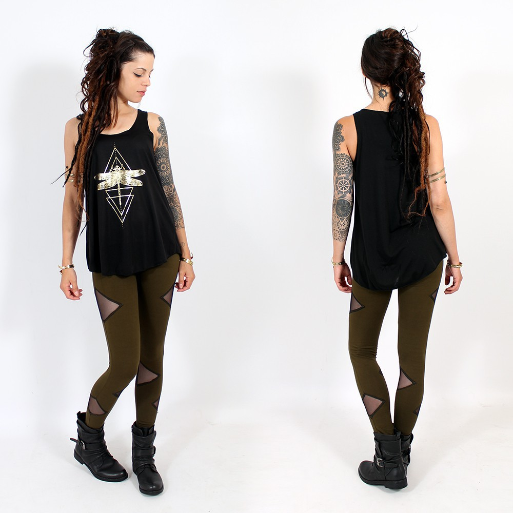 "\""Geometric Dragonfly\\\"" tank top, Black and gold"