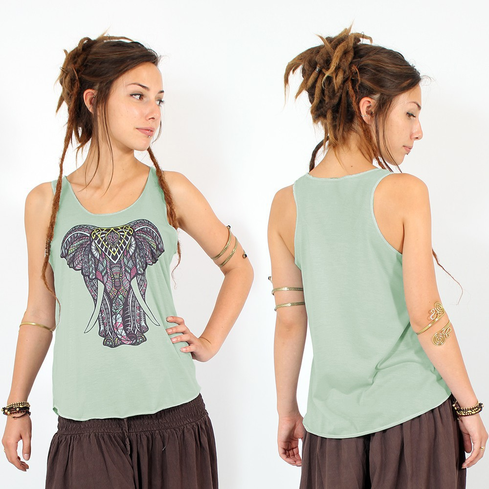"\""Geometric elephant\\\"" tank top, Light green"