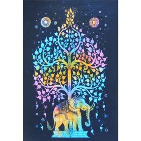 "Hanging \\\""Elephant\\\"", Blue purple 1,40m x 2,20m"