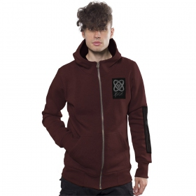 """Infinity\"" zipped hoodie, Mottled black bordeaux"