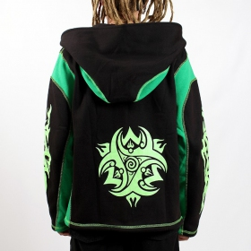 Jacket/hoodies fullprinted sleeves roundhood black/fluogreen