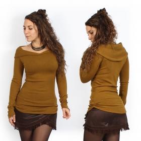jersey naranja óxido de manga larga yggdrazil karmïk rusty, cálido y cómodo con cuello grande que cae elegantemente sobre los hombros, jersey roots para mujer, boho, corte original que resalta sus formas, pliegues cosidos a los lados, mangas largas y puntiagudas