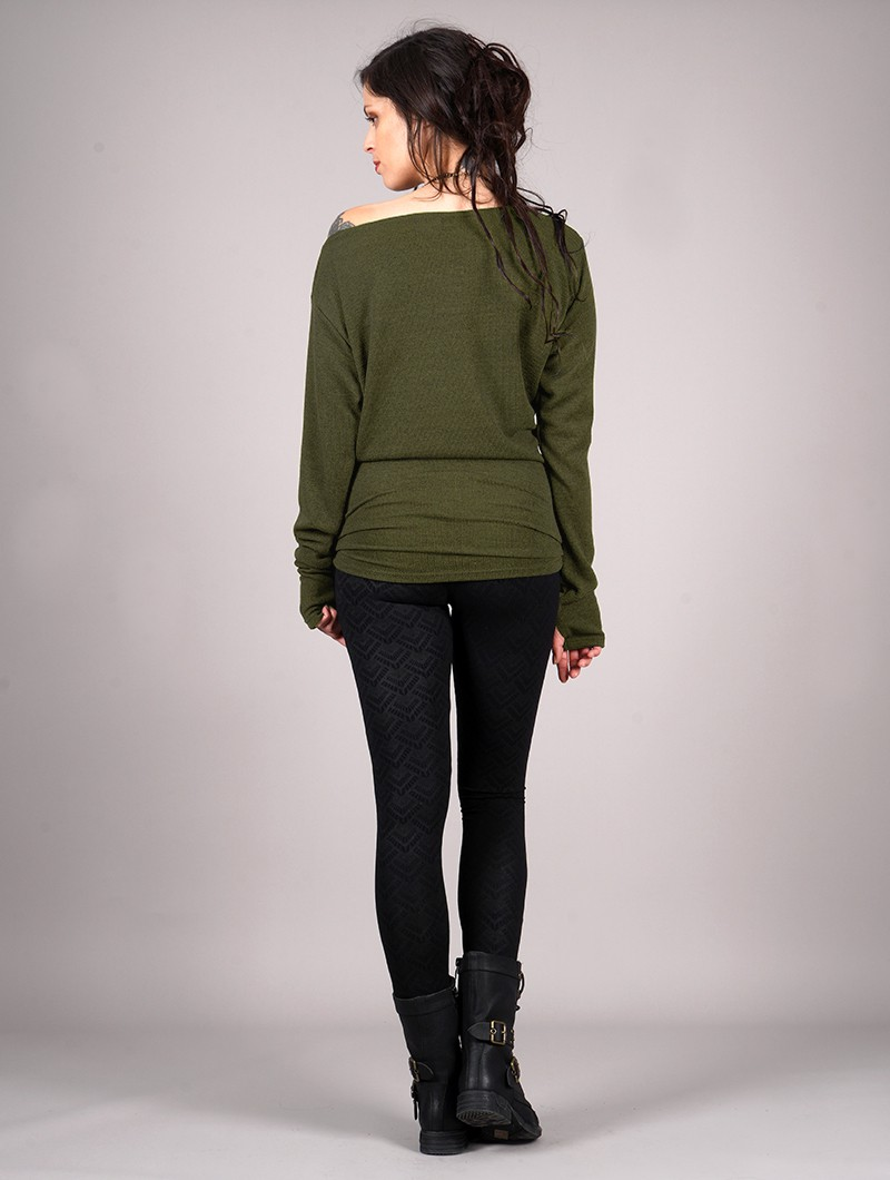 """Jersey con manga de murciélago \""""Kayäaz\"""", Verde oliva"""