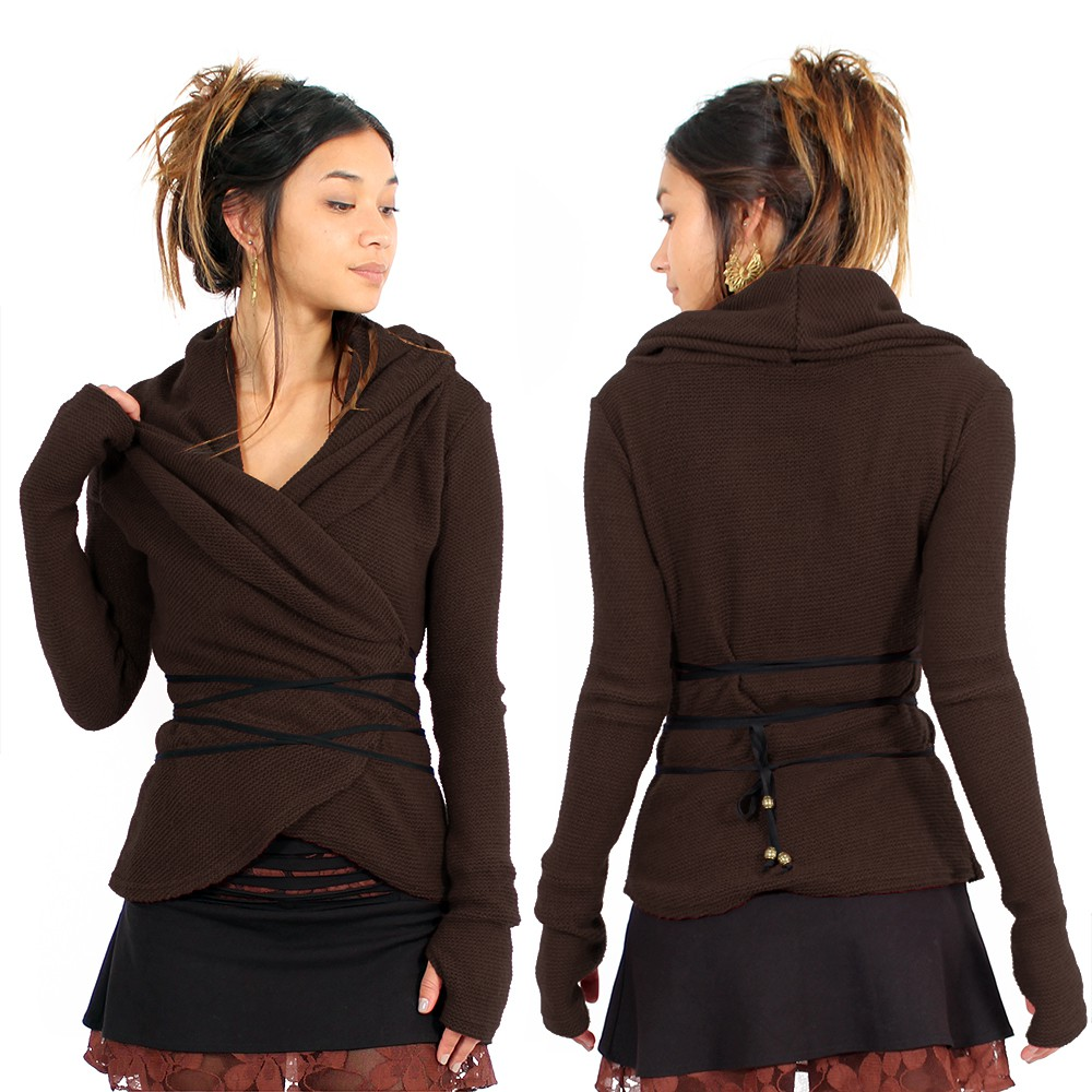 "Jersey de parte frontal cruzada \""Plume\"", marrón"