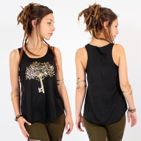 "\""Key tree\\\"" tank top, Black and gold"