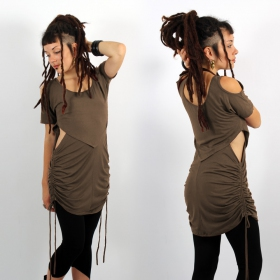 """Laality\"" tunic-dress, Dark mole"