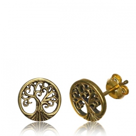 "\""Laghu Tree of life\\\"" Brass earrings"