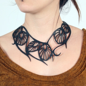 """Leaf\"" inner tube necklace"