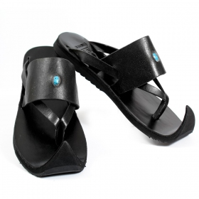 "Leather flip-flops ""Nishka\"", Black"