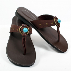 "Leather flip-flops \""piyali\\\"", darkbrown"