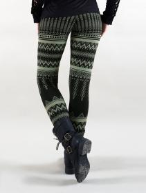 "Leggings largos \""Rinji Aztec\"", Negro con motivos verdes"