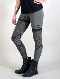 "Leggings largos ""Rinji Floral Circuit\"", Gris"