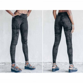 "Leggings largos ""Roots\"", Gris con impresos"