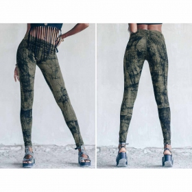 "Leggings largos ""Roots\"", Verde oliva con impresos"