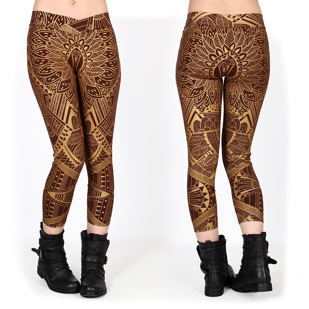 """Leggings ¾ \""""Rinji Africa\"""", Marrón con estampados dorados"""