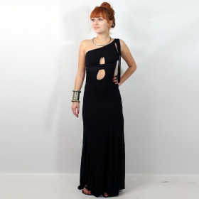 "Liloo \""asymetric long dress\\\"", black plain"