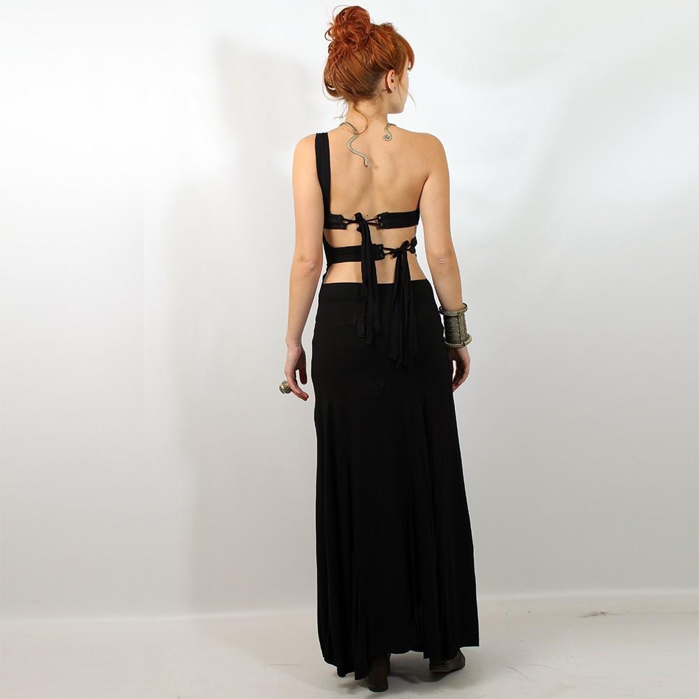 """Liloo \\\""""asymetric long dress\\\"""", black plain"""