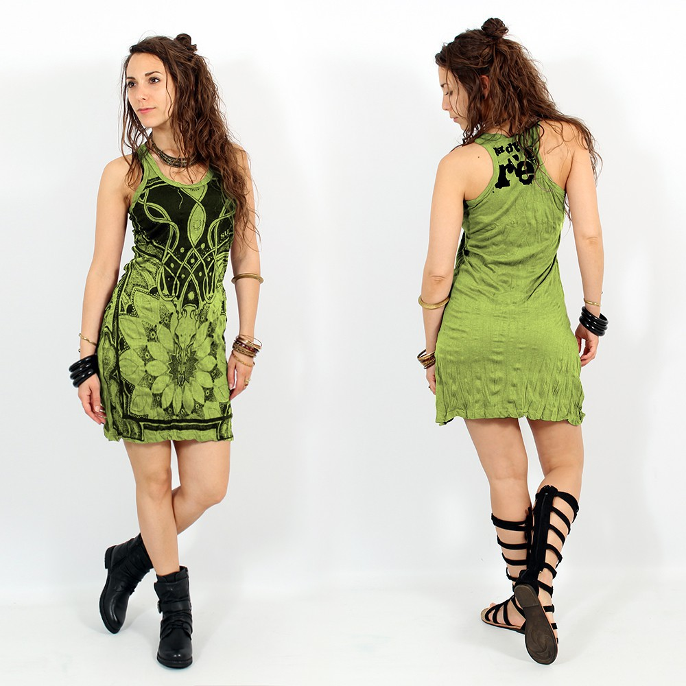 "\\\""Lotus\\\"" dress, Apple green"