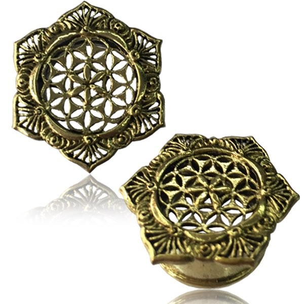 "\""Lotus Flower of life\\\"" Brass Plug"