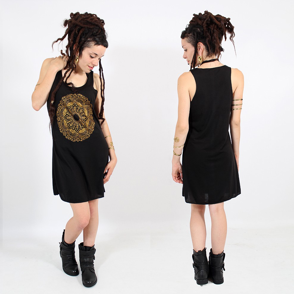 "\""Mandala\\\"" dress, Black and gold"