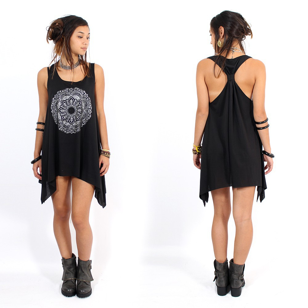 "\""Mandala\\\"" knotted tunic, Black and silver"