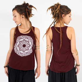 "\""Mandala\\\"" tank top, Wine and white"