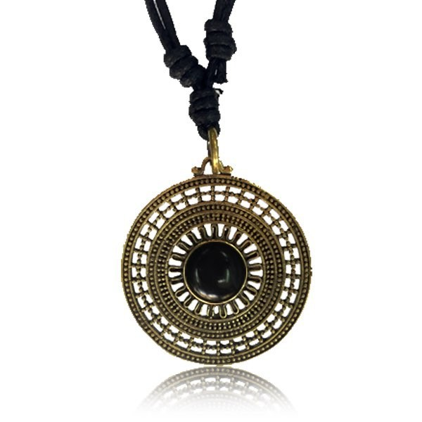 "\""Mandala Onyx\\\"" brass necklace"