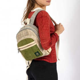 "Mini mochila \""Sunsari\"", cáñamo y algodón anís"