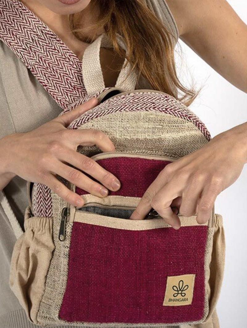 """Mini mochila \""""Sunsari\"""", Cáñamo y algodón beige y burdeos"""