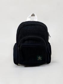 "Mini mochila \""Sunsari\"", Cáñamo y algodón negro"