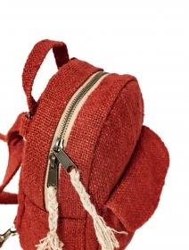 "Mochila convertible \""Kumari\"", Cáñamo y algodón rojo"