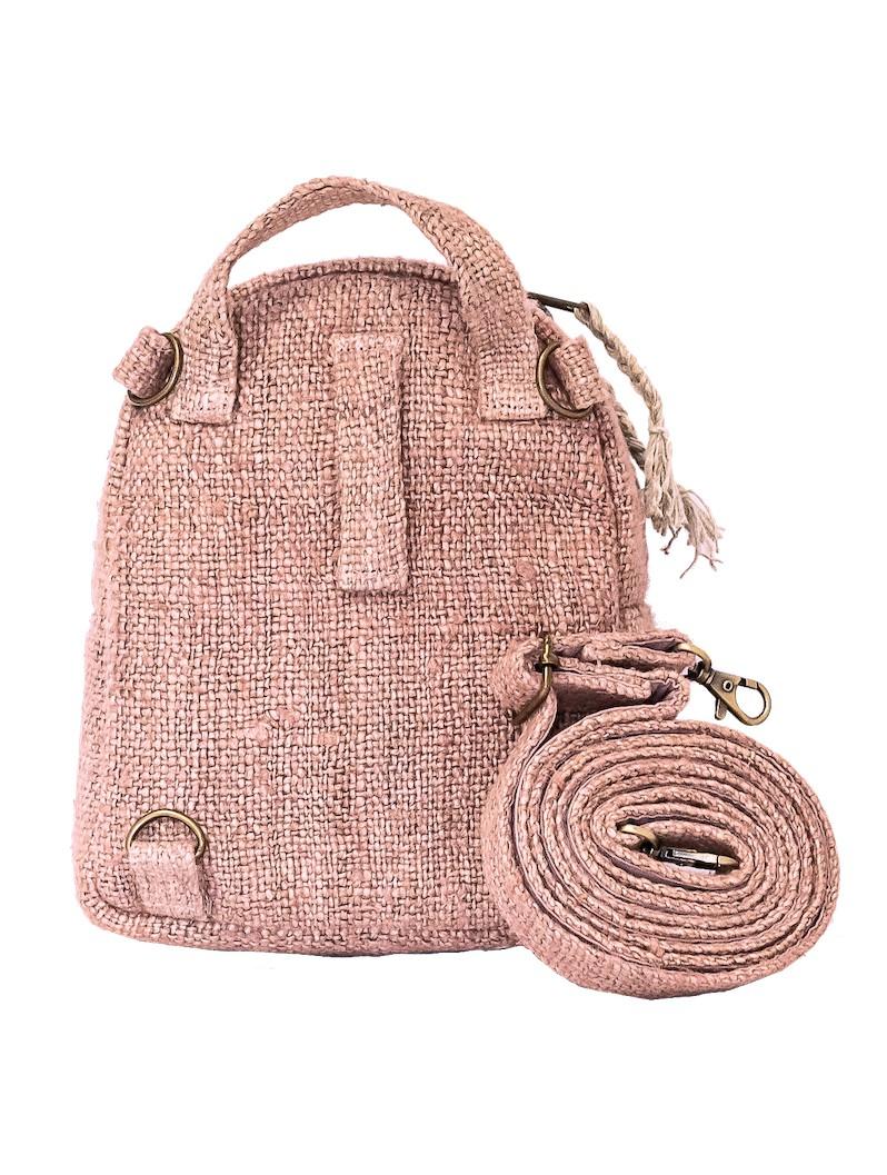 "Mochila convertible \""Kumari\"", Cáñamo y algodón rosa claro"